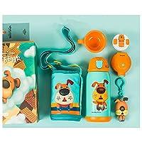 韩国杯具熊(beddybear)儿童保温杯带吸管两用水壶小学生宝宝便携水杯不锈钢杯吸管杯 (吉祥狗礼盒款, 630ML)