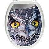 Pixxp/3D WCS 4998 32x40 精美长方形猫头鹰盖贴纸,WC,马桶盖,Gläzendes 材质,黑/白,40 x 32 厘米