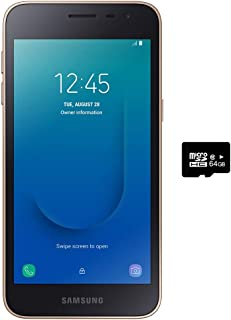 "Samsung Galaxy J2 Core 2018 (16GB) 5.0"",Android 8.0,GSM 工廠未鎖,美國+全球 4G LTE - 國際版 J260M/DS 16GB + 64GB SD Bundle 金色"