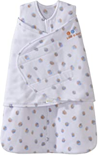 HALO包裹式超细摇粒绒2合1婴儿安全睡袋(秋冬厚款)蓝橙点点 NB(0-3个月)