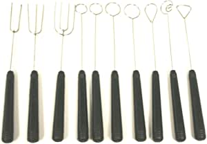 Paderno World Cuisine Set of 10 Inch Chocolate Dipping Forks Made of Steel and Plastic