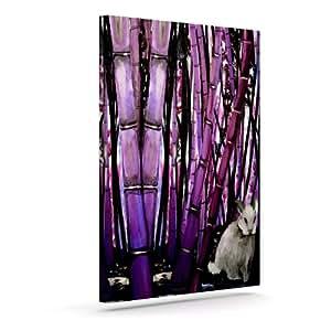 "Kess InHouse Theresa Giolzetti ""竹子兔子""紫色黑色户外帆布墙壁艺术 20"" x 24"" 紫色 TW1032AAC04"