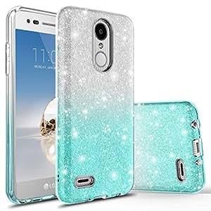 LG Premier Pro LTE 手机壳,LG K30 手机壳,LG Phoenix Plus 手机壳,LG Harmony 2 手机壳带钢化玻璃屏幕保护膜,Rosebono Quicksand 闪光闪耀液体手机壳适用于 LG K10 2018 SF Silver Teal