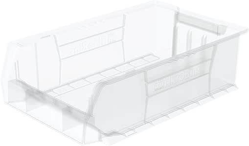 Akro-Mils 30280 50.8 cm 深 x 30.48 cm 宽 x 15.24 cm 高透明超尺寸塑料堆叠存储卡罗宾,4 包 30280SCLAR