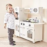 Teamson Kids - 复古木制玩具厨房,带冰箱、冰箱、烤箱和洗碗机 - 白色(1 件)