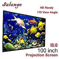 投影机屏幕,Salange 100 英寸 16:9 高清可折叠防折便携式投影电影屏幕适用于家庭影院双面投影,适用于室外和室内
