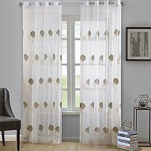 "Dreaming Casa 纯色薄纱窗帘 Grommet Top-tree-white & Brown-2 Panels 2*(52"" W x 63"" L) DC10682-3-5"