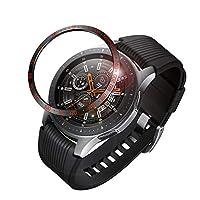 Fintie 包边戒指适用于 Galaxy 手表 46mm & Gear S3 Frontier & 经典不锈钢保护壳表圈环胶盖配件适用于 Galaxy Watch 黑色和红色