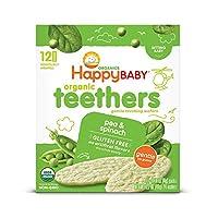 Happy Baby Gentle Teethers Organic 出牙威化餅 豌豆菠菜,為出牙期嬰兒提供舒緩的磨牙米餅,輕松溶解,不含麩質,12塊(6件)