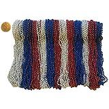 Mardi Gras Beads 33 英寸 7 毫米,12 打 144 件,含双球的项链 Red Silver Blue