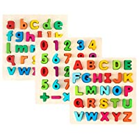 玩具享受字母拼图 - 木制上盒、小盒字母和数字学习板玩具 - 幼儿园和学前教育的理想选择