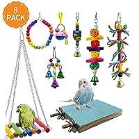 SHINYLYL 8 件装鸟类鹦鹉摇摆咀嚼玩具 - 鹦鹉吊床铃玩具,适合小型鹦鹉、鸡尾鹦鹉、翅雀、虎皮鹦鹉、爱情鸟