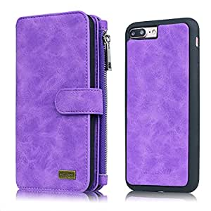MEGSHI 钱包式手机壳带卡槽,现金防滑纤薄 TPU 手机壳带磁扣,适用于 iPhone 6/6s/6 Plus/6s Plus/7/7 Plus Purple 6