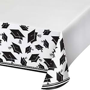 "Creative Converting School Spirit Border Print Plastic Tablecover for Graduation Party, 54"" x 102"", White"