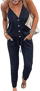 PRIMODA 女式细肩 V 领连身裤抽绳松紧腰长裤连身裤带口袋