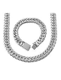 Bling Bling NY 男士纯不锈钢 18.5mm 迈阿密古巴链条链条和手链套装重 50.8cm