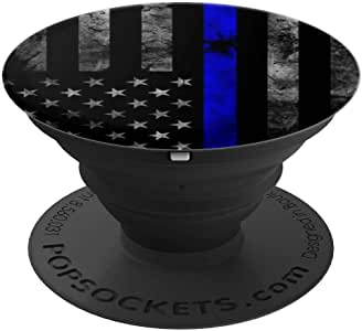 Thin Blue Line - 展示您对执法人员的支持 - PopSockets 手机和平板电脑的握把和支架260027  黑色