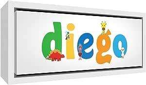 Little Helper 帆布彩色样品白色实木相框,名称为 YOUNG BOY Diego 19 x 18 x 3 cm S