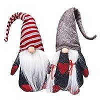 Ivenf 2 件装手工长毛绒 Tomte Gnome 瑞典斯堪的纳维亚圣诞老人,圣诞节装饰礼品,节日家居桌装饰装饰