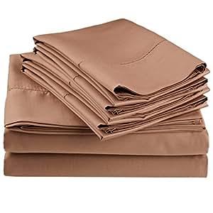 Impressions 600 支密织边缝制床单套装带赠枕套 灰褐色 Olympic Queen CR600OQSH FATPBO