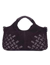 Nico Louise 女式钱包麂皮分体真皮编织手提包休闲单肩包