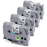 兼容 P 触摸标签机胶带,替换 TZe 胶带 12mm 0.47 英寸层压白色与 Brother P-Touch Cube PT-D600 PT-H110 PT-D210 标签机,4 件装 TZe-241 (18mm) 白色