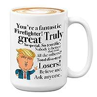 Donald Trump 咖啡马克杯 - 425 g 茶杯礼物送给消防员引擎印*安人生日圣诞礼物 总统保守共和党人