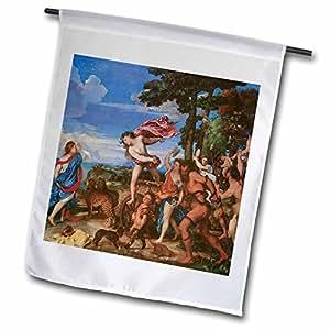 BLN 绘画 LOVE FINE ART 系列–bacchus 和 ariadne 作者 titian–旗帜 12 x 18 inch Garden Flag