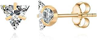 女式 316L *钢三角透明方晶锆石耳钉女士三角方晶锆石耳钉不锈钢水晶耳环耳钉耳钉首饰男士首饰几何礼物
