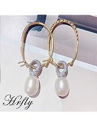 Hrfly风下 马来西亚品牌 天然珍珠耳环 celine同款 925银镶嵌 强光水滴珠(珍珠9-10mm)