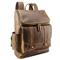 Polare 乡村风格全粒面皮革 15.6 英寸笔记本电脑背包旅行包书包冒险包 One_Size