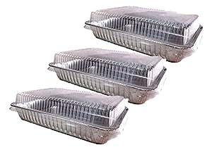 3 件装一次性耐用铝箔蛋糕平底锅带盖子 银色 D87634