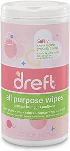 Dreft 多面通用温和清洁湿巾,适用于婴儿玩具、汽车座椅、高脚椅等产品 Wipes (Pack of 4) 280 Wipes 280