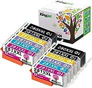 Kingjet 替换件 适用于佳能 PGI-280XXL CLI-281XXL 墨盒 6 色 2 套 (2PGBK 2BK 2C 2M 2Y 2PB),适用于佳能 Pixma TS9120、TS8220、TS8120 打