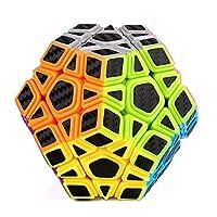 CFMOUR Megaminx 速度立方体,Rubiks 立方体,光滑魔方,碳纤维贴纸,五角形圆面立方体,黑色