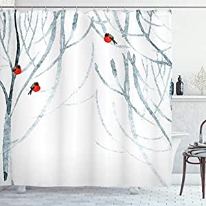 Modern Decor Shower Curtain by Ambesonne, Trees Water Colored Image of Winter Woods with Bullfinches, Fabric Bathroom Decor Set with Hooks, 84 Inches Extra Long, Black White Light Grey and Red