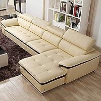 【下单赠价值998元真皮圆凳1个】ZUOYOU 左右 沙发现代简约头层牛皮真皮组合沙发大小户型皮沙发DZY2826 转二加休正向米黄色