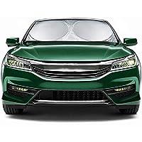 JUSTTOP 汽车挡风玻璃遮阳罩 – 可折叠遮阳车窗遮阳罩 210T 涂层银布反光聚酯材料阻挡 99% 紫外线(大号 63 x 88.9 厘米)