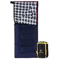 "REDCAMP 棉质法兰绒露营睡袋,41F/5C 3-4 季温暖舒适,信封蓝色带 2/3/4磅填充物(75""x33"")"