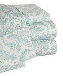 Trade Linker 200 Thread Count Floral Sheet Set, King, Aqua