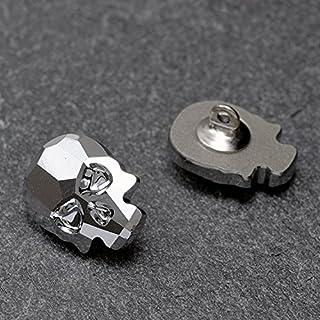 14 x 10.5mm 施华洛世奇 2856 骷髅头平后纽扣带鞋楦 Crystal Light Chrome (2-pcs) SW2856_14CLTCHR
