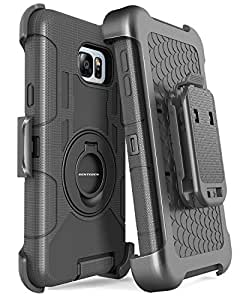 Note 5 Case, Galaxy Note 5 Case, BENTOBEN Shockproof Heavy Duty Protection Hybrid Rugged Rubber Built-in Rotating Kickstand Belt Swivel Clip Holster Cover for Samsung Galaxy Note 5 M245-Black