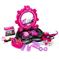 Toysery 女孩梳妆台 - 配有灯光、声音、椅子、时尚和化妆配饰材料 - 非常适合团体游戏 - 送给儿童的完美梦想礼物