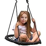 Sorbus Spinner Swing - 儿童室内/室外圆形网摆动 - 非常适合树木、秋千、后院、游乐场、游戏室 - 包含配件 24英寸 Black Net Seat