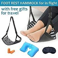 飞机旅行脚踏板,便携式脚踏飞行脚枕吊床脚踏板,适用于飞机、办公桌、充气枕头、眼罩和耳塞旅行配件
