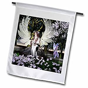 whiteoak 艺术设计天使印刷品 – 天使 OF thankfulness AN Angel 带蝴蝶 – 旗帜 12 x 18 inch Garden Flag