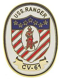 美国* USN USS Ranger CV-61 Script and Logo 2.54 cm 翻领别针