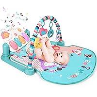 大号婴儿游戏垫 BATTOP 踢踏钢琴健身房 - 5 个玩具和音乐活动婴儿健身房,适合 0-36 个月的男孩和女孩 Macaron