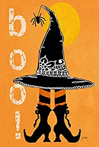 Toland Home Garden Boo Boots 28 x 40 Inch Decorative Halloween Witch Hat Spider Double Sided House Flag