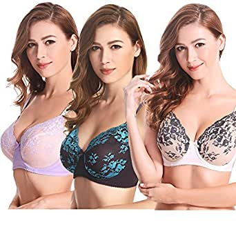Curve Muse 3 Pack Plus Size Unlined Semi-Sheer Balconette Underwire Lace Bra Lavender,grey,ivory 48DD
